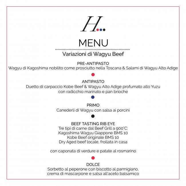 Menü Sassicaia Verkostung Hidalgo Beef Tasting